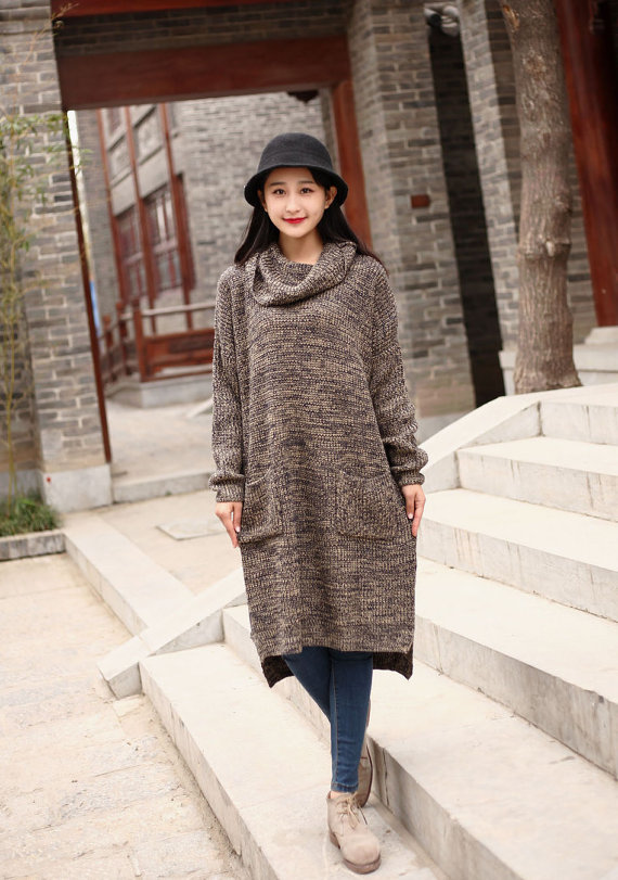 Cotton Sweater Winter Turtleneck Sweater Dresses Casual Loose ...