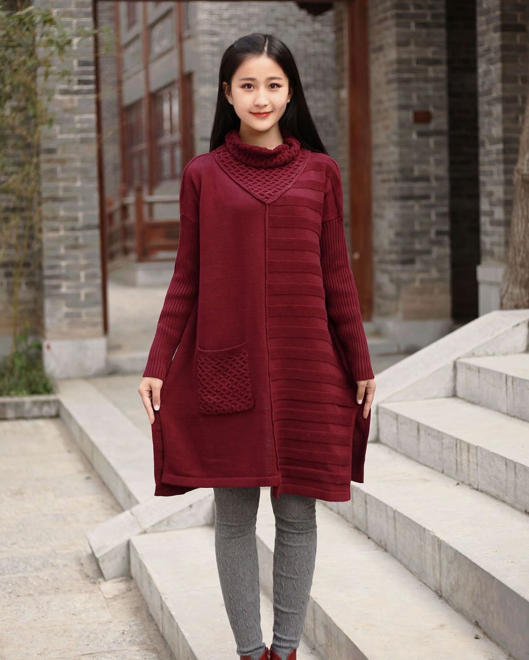 Cotton Sweater Winter Long Sweater Plus Size Sweater Dresses Autumn ...