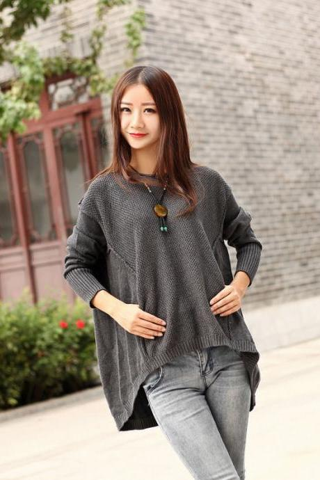 Cotton Sweater Winter sweater dresses Casual loose fitting Autumn sweater Large size dress Winter warm sweater tops
