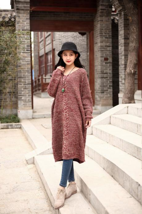 Cotton Sweater Winter sweater dresses Casual loose sweater V-neck Autumn sweater Large size dress Winter warm sweater blouse