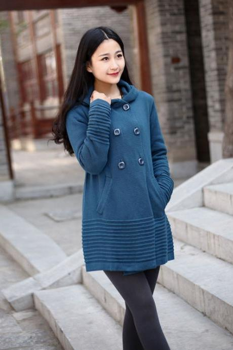 Cotton Sweater Winter sweater dresses Hooded Autumn sweater coat Casual loose sweater cardigan Large size dress Winter warm sweater tops