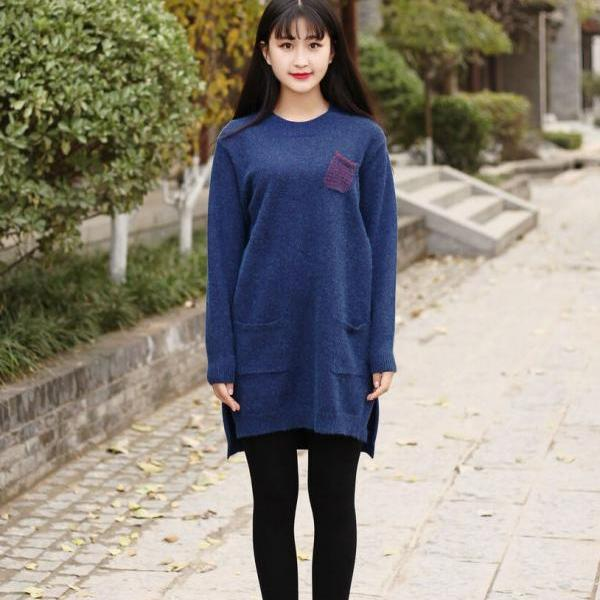 Cotton Sweater Woolen sweater dress Large size long sweater dresses Casual loose Kaftan Winter sweater tops Plus size sweater Daywear Dress