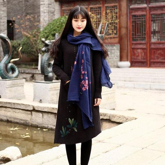 Cotton Sweater Casual loose sweater dresses Hand-painted Large size long sweater Kaftan Winter sweater Blouse Extravagant Daywear Dress