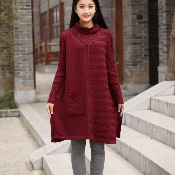 Cotton Sweater Winter Long Sweater Plus Size Sweater Dresses Autumn
