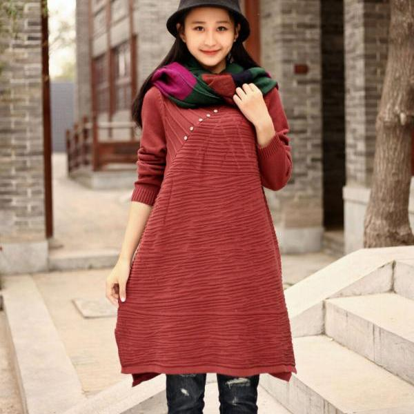 Cotton Sweater Winter long sweater Plus size sweater dresses Autumn sweater Large size dress plus size clothing Women Dresses